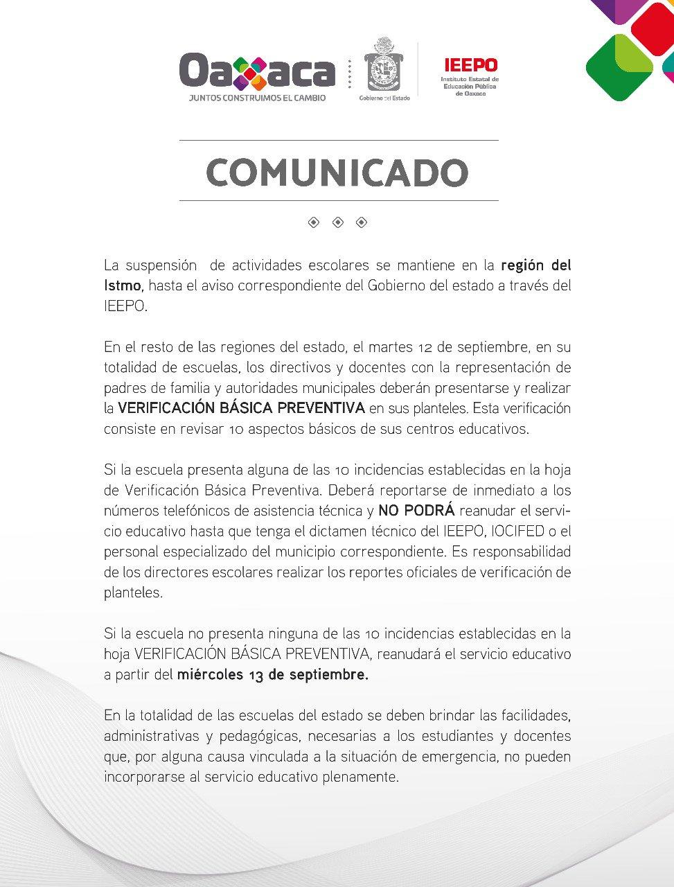 Continúa suspensión de clases en Oaxaca; el miércoles reanudarán las ...